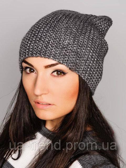 Женская вязаная шапка на флисе