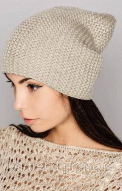 Женские вязаные шапки на флисе