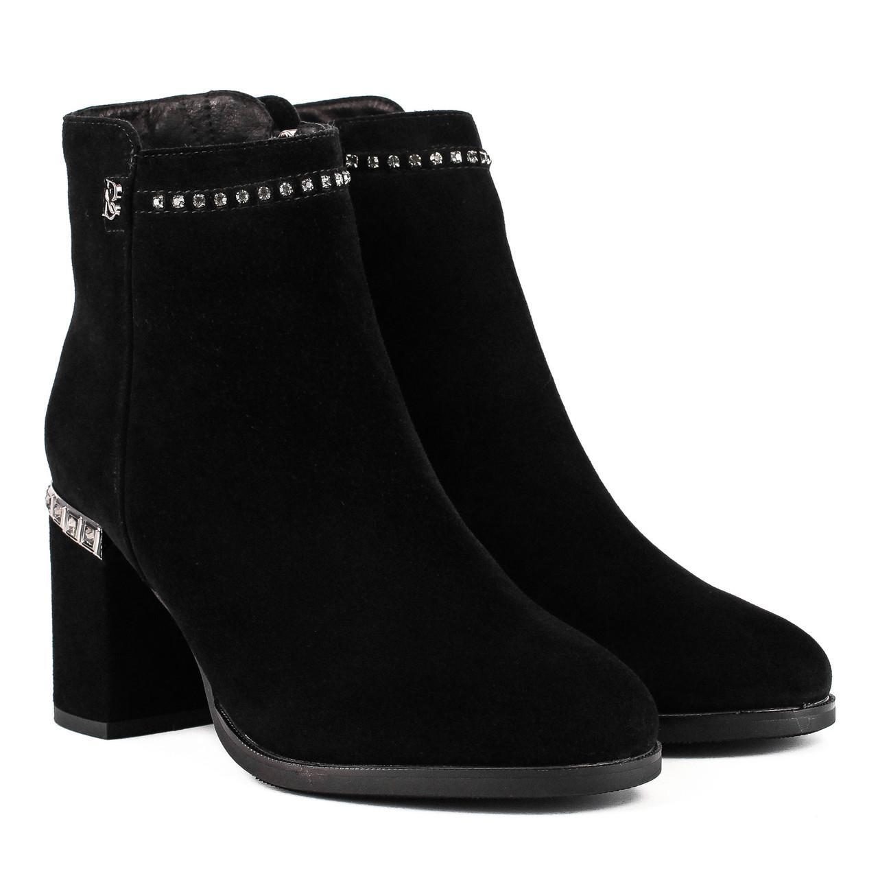 Ботильоны женские Bonetti Co (зимние, теплые, замшевые, на каблуке)