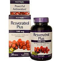Ресвератрол (Resveratrol), Natrol, 100 мг, 30 таблеток
