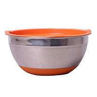 Миска Kamille  из нержавеющей стали с крышкой 22 см Нержавеющая сталь/Оранжевый (KM-4349)