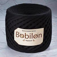 Пряжа трикотажная Bobilon Maxi (9-11мм). Черный Bobilon
