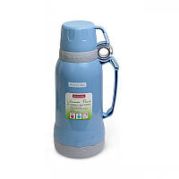 Термос Kamille со стеклянной колбой 1 л Light Blue (KM-2023_B)