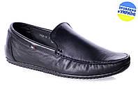 Мужские мокасины кожаные mida 11219ч черные   весенние , фото 1
