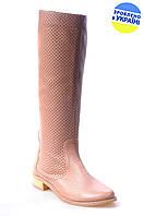 Женские сапоги кожаные avis 6191408 бежевые   весенние