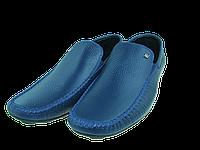Мужские мокасины кажаные alexandro 15409 синие   весенние