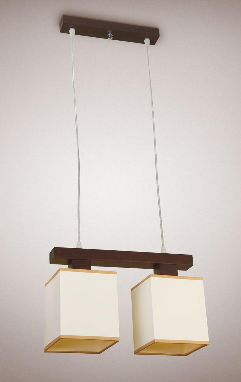 Люстра деревянная 2-х ламповая с абажурами для спальни, прихожей, кухни 18002