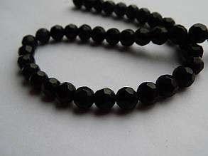 Намистини 6 мм круглі грановані- скло, Чорні (10 шт.)