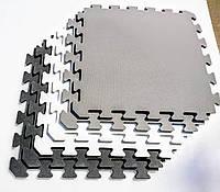 Коврик-пазл (мягкий пол) ,Модульный настил для детских комнат в серых,белых и черных тонах, 50х50х1см (УКРАИНА