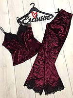 Вишневая велюровая пижама женская с брюками