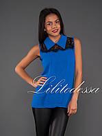 Блуза  с отложным воротником синий, фото 1