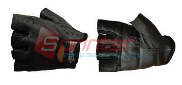 Перчатки для тяжёлой атлетики без пальцев кожа М