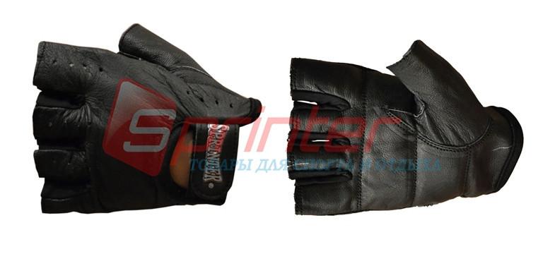 Перчатки для тяжёлой атлетики без пальцев кожа XL