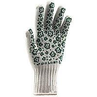 Перчатки DOLONI № 620 белые с зеленым рисунком ПВХ