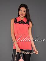 Блуза  с отложным воротником алый, фото 1
