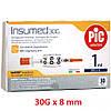 Insumed 0.3*8 мм 1 мл U-100 Инсулиновый шприц с интегрированной иглой 30G (упаковка 30 шт)