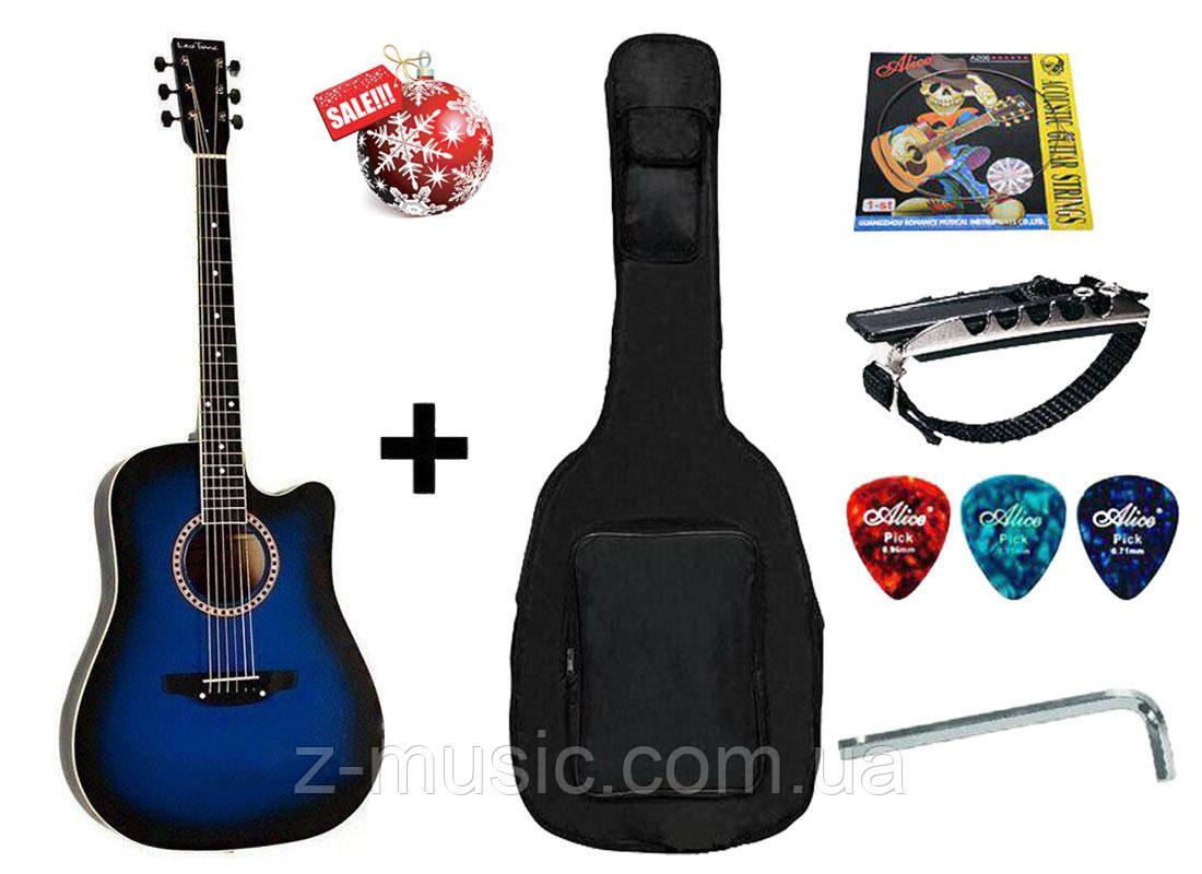 Гитара акустическая Trembita Leotone L-03 BL (чехол, медиатор, каподастр, струна, ключ)
