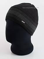 Мужская шапка с отворотом Viks Flip черная с темно-серым