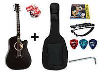 Гитара акустическая Trembita Leotone L-03 BK (чехол, медиатор, каподастр, струна, ключ)