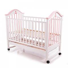Детская кроватка Baby Care BC-440M бело-розовая
