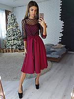 d4b7463e024 Бордовое платье миди с верхом из сетки -добби