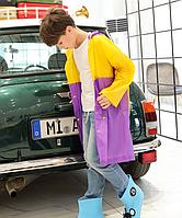Дождевик детский с местом под рюкзак. Желто-фиолетовый дождевик, фото 1
