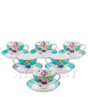 """Чайный набор на 6 персон """"Виола"""" (Viola Pavone) из костяного фарфора 12 пр-в"""