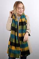 Зимний теплый шарф-плед в клетку зеленый