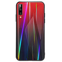 TPU+Glass чехол Gradient Aurora для Samsung A750 Galaxy A7 (2018) Красный