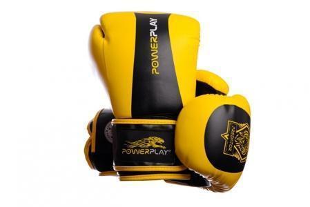 Боксерські рукавиці PowerPlay 3003 Жовто-Чорні 14 унцій