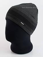 Шапка с отворотом мужская Viks Flip темно-серая с черным