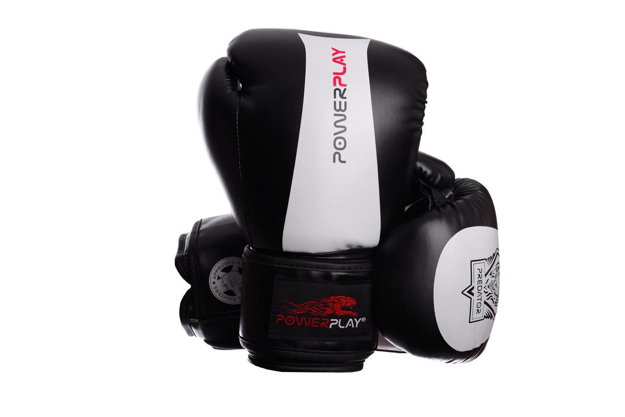 Боксерські рукавиці PowerPlay 3003 Чорно-Білі 16 унцій