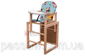 """Детский стульчик-трансформер для кормления """"Божья коровка"""" голубой"""