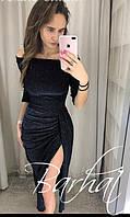 Платье миди, коктейльное вечернее платье с разрезом, ткань люрекс. Размеры 42, 44, 46, 48., фото 1