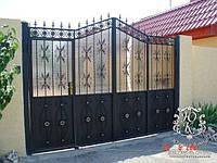 """Кованые ворота со встроенной калиткой """"стандарт класс"""""""