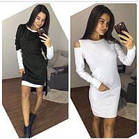 Женское платье-двойка ассиметрия. Разные цвета, размеры: 42, 44, 46, 48
