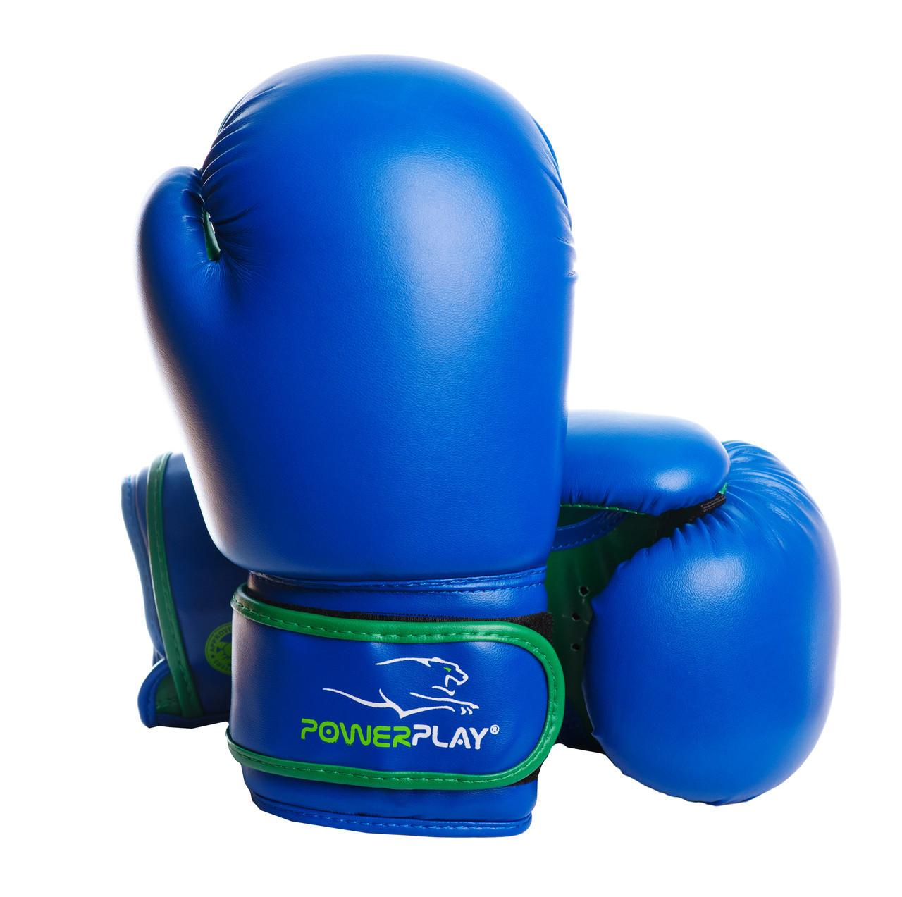 Боксерські рукавиці PowerPlay 3004 JR Синьо-Зелені 8 унцій