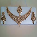 Індійський комплект кольє, тика, сережки до сарі під золото з рожевим камінням, фото 5