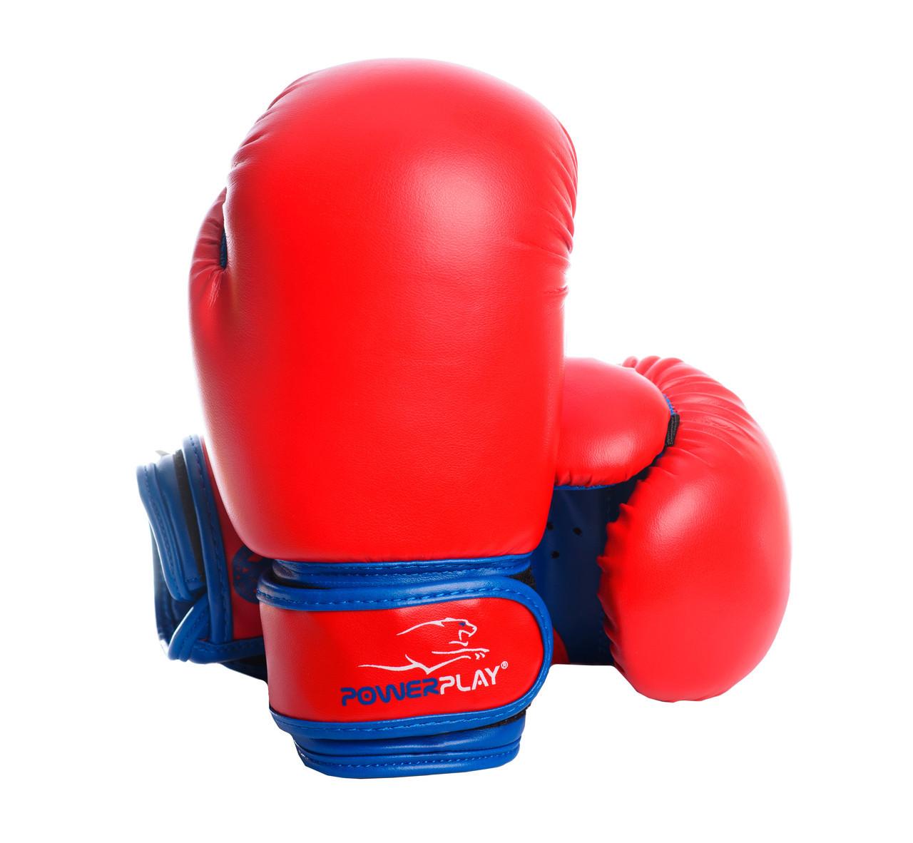 Боксерские перчатки PowerPlay 3004 JR красно-синие 8 унций