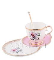 """Чайная пара """"Цветок Неаполя"""" (Fiore Napoli Pavone) из костяного фарфора"""