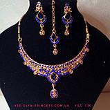 Индийский комплект колье, тика, серьги к сари под золото с розовыми камнями, фото 3