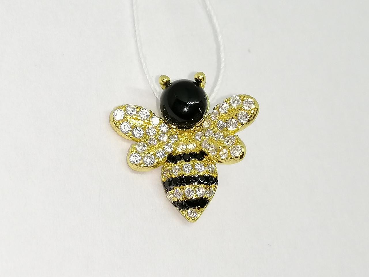 Серебряная подвеска Пчелка с фианитами и позолотой. Артикул П4ФО/1116
