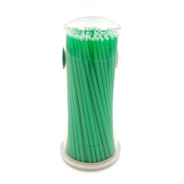 микробраши зеленые средние, микроаппликаторы в коробке 100 шт