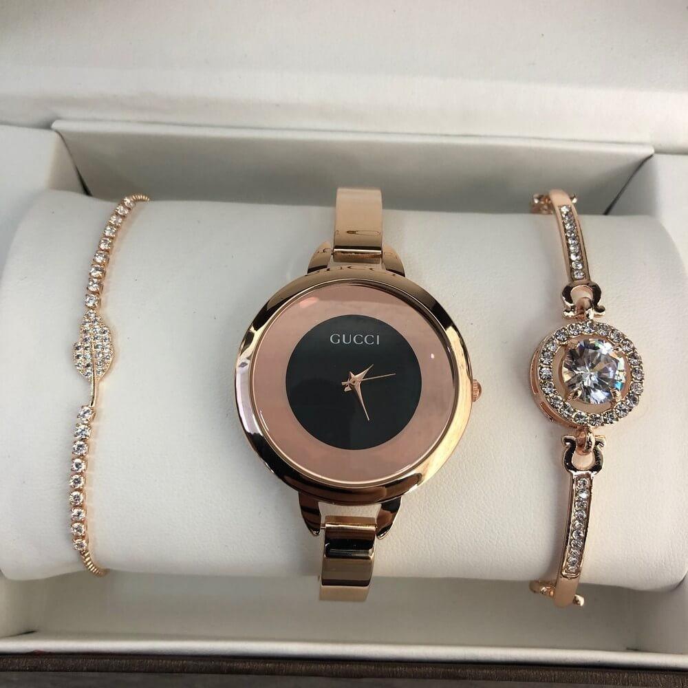 Подарочный комплект Gucci часы/ два браслета