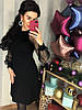 Шикарне плаття з трикотажу на рукавах сітка з перлами. Розмір:С-42 М -44 Л-46. Колір: чорний (0443), фото 4