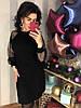 Шикарне плаття з трикотажу на рукавах сітка з перлами. Розмір:С-42 М -44 Л-46. Колір: чорний (0443), фото 5