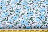 """Ткань хлопковая """"Бабочки на голубой цветочной поляне"""" на белом (№1818а), фото 2"""