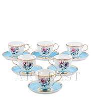 """Чайный набор на 6 персон """"Цветок Неаполя"""" (Fiore Napoli Pavone) из костяного фарфора 12 пр-в"""