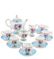 "Чайный сервиз на 6 персон ""Цветок Неаполя"" (Fiore Napoli Pavone) из костяного фарфора 15 пр-в"