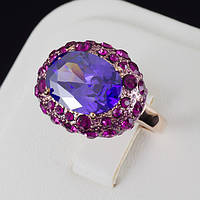 Восхитительное кольцо с кристаллами Swarovski, покрытие золото 0493 18 Фиолетовый